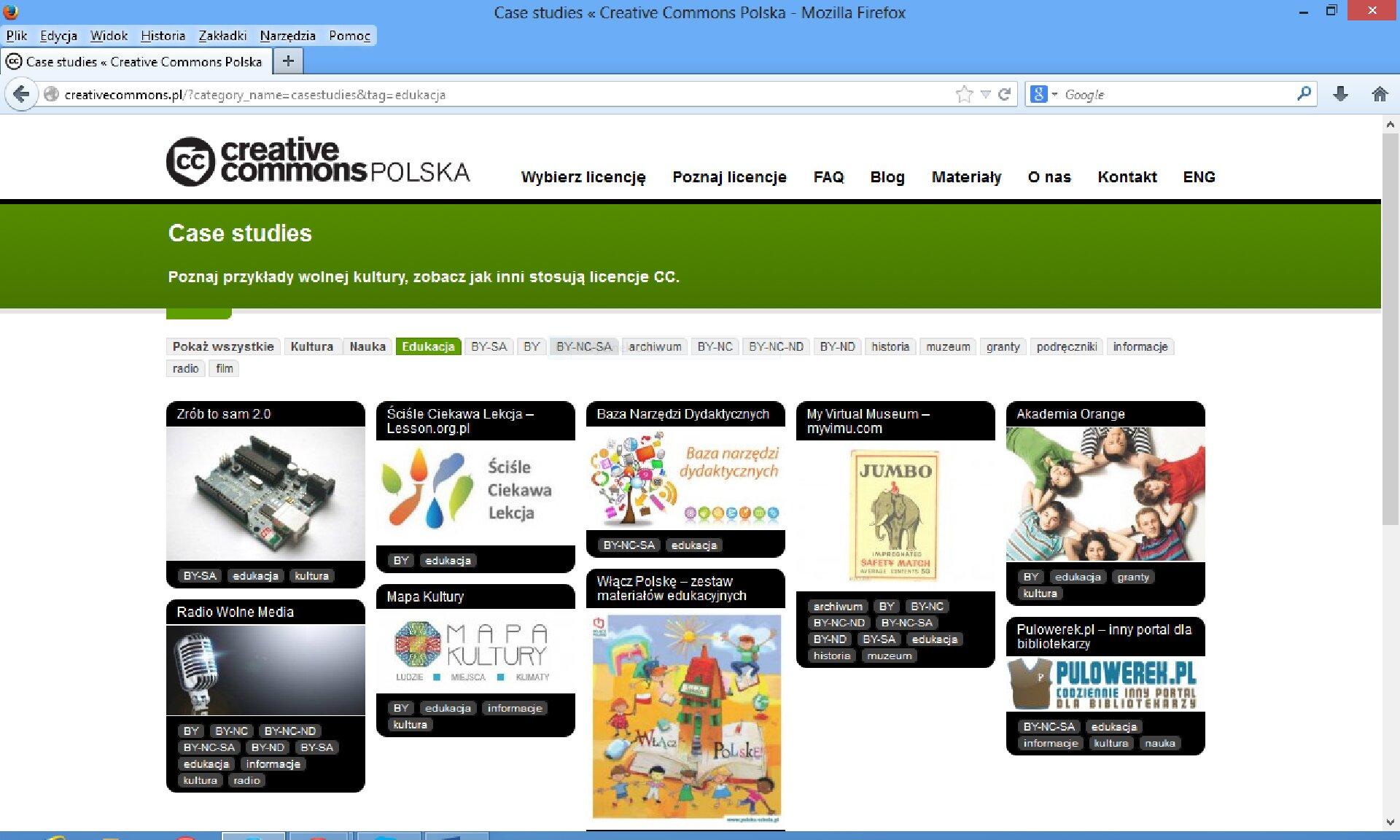 Zrzut okna strony internetowej http://creativecommons.pl