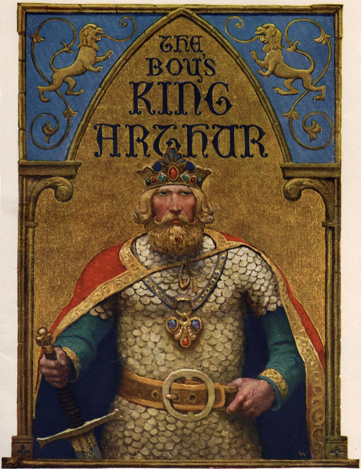 Król Artur, [w:] The Boy's King Arthur: Sir Malory's History of King Arthur and His Knights of the Round Table Król Artur, [w:] The Boy's King Arthur: Sir Malory's History of King Arthur and His Knights of the Round Table Źródło: Newell Convers Wyeth, 1917, domena publiczna.