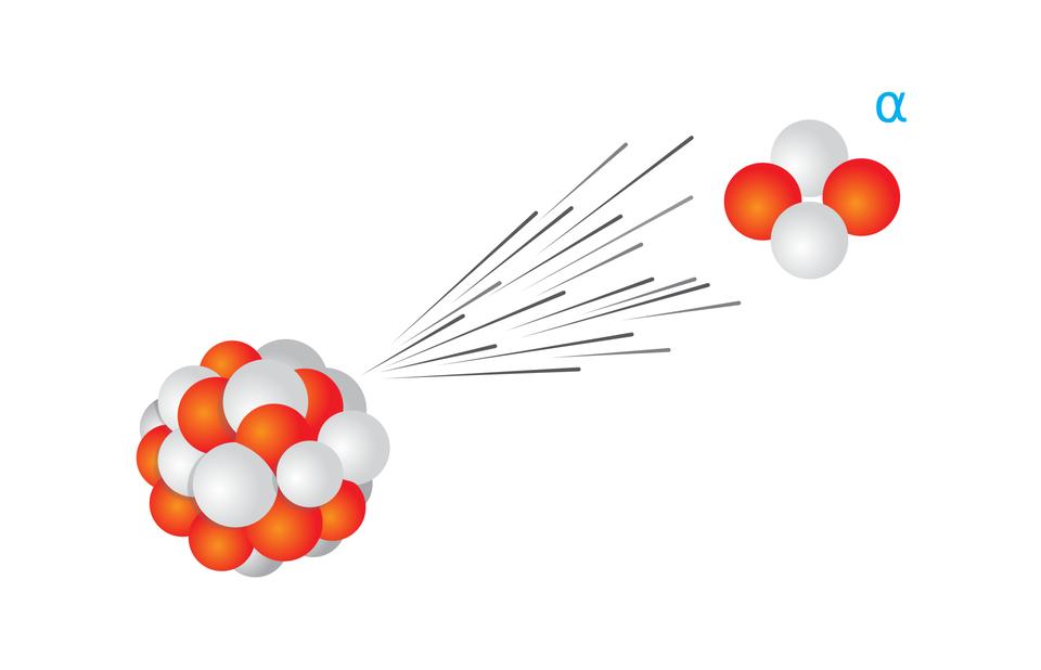 rysunek jądra atomowego, zktórego wystrzeliwana jest cząstka