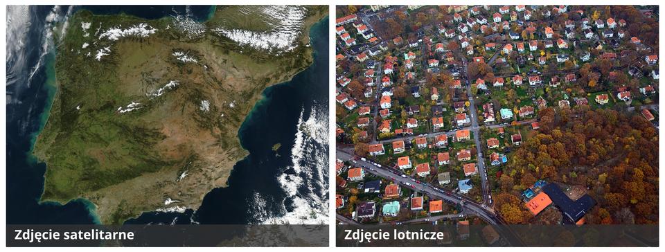 Ilustracja przedstawia zdjęcie satelitarne izdjęcie lotnicze. Po lewej stronie jest zdjęcie satelitarne Półwyspu Iberyjskiego. Ląd na zachodzie półwyspu ma kolor zielony. Im bardziej na wschód tym kolor jaśnieje, do beżowego. Półwysep otoczony niebieskim morzem. Po prawej stronie zdjęcie lotnicze osiedla domków jednorodzinnych. Domki mają czerwone dachy. Wprawym dolnym rogu fotografii jest park.