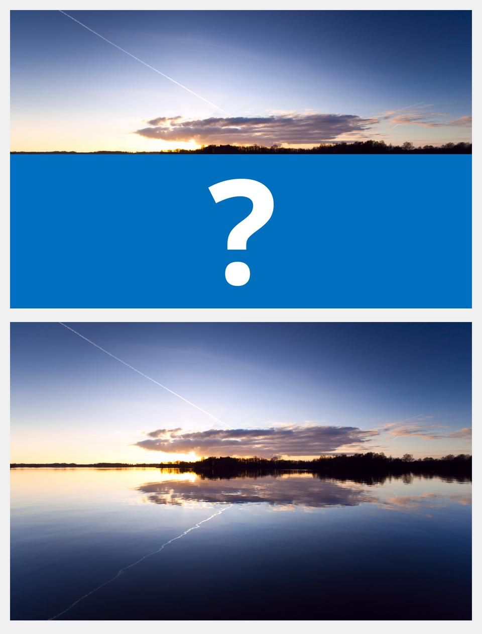 Ilustracja interaktywna jest podzielona na dwie części. Przedstawia połowę pejzażu zniebem, chmurami ifragmentem pejzażu. Drugą część zajmuje niebieski prostokąt ze znakiem zapytania. Po odwróceniu ilustracji ukazany jest cały pejzaż, którego górna część symetrycznie odbija się wtafli wody.