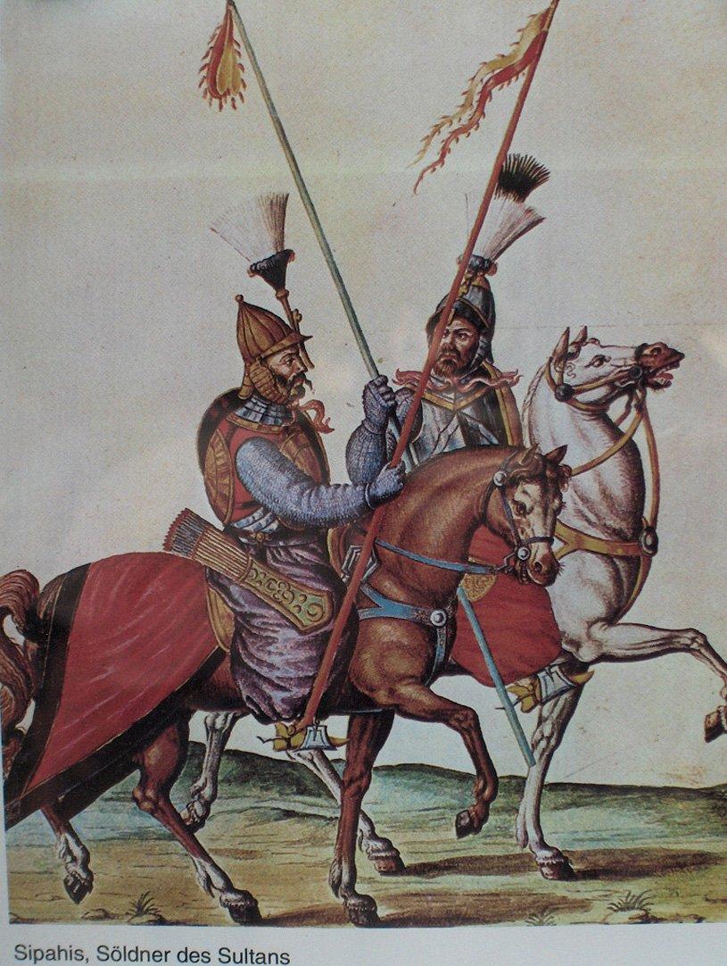Spahisi – wojownicy zcieżkozbrojnej jazdy tureckiej zdrugiejpoł. XVII w. Spahisi – wojownicy zcieżkozbrojnej jazdy tureckiej zdrugiejpoł. XVII w. Źródło: domena publiczna.