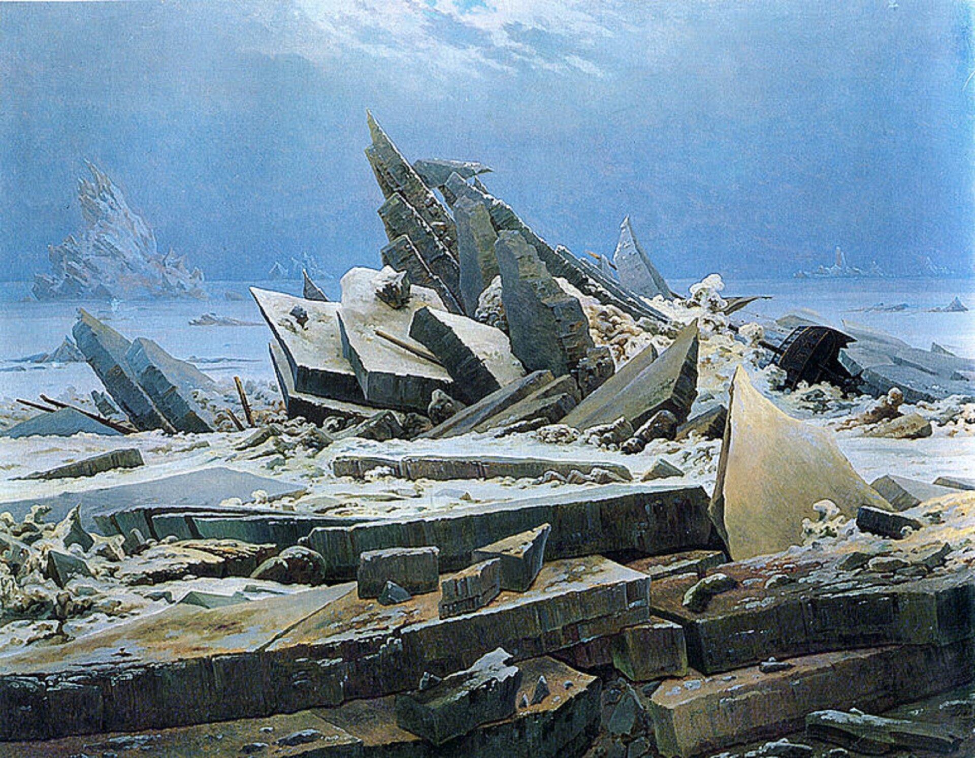 """Ilustracja okształcie poziomego prostokąta przedstawia obraz Caspara Davida Friedricha """"Morze lodu"""". Ukazuje pejzaż morski. którego tematem są połamane tafle lodu. Tworzą one konstrukcję, opartą na wielu kierunkach ispiętrzoną ku górze. Pośród nich widoczne są fragmenty wraku statku. Wtle rozciąga się błękitny widok na rozległe morze pokryte lodem igórę lodową po lewej stronie. Powyżej zhoryzontem łączy się błękitne niebo."""
