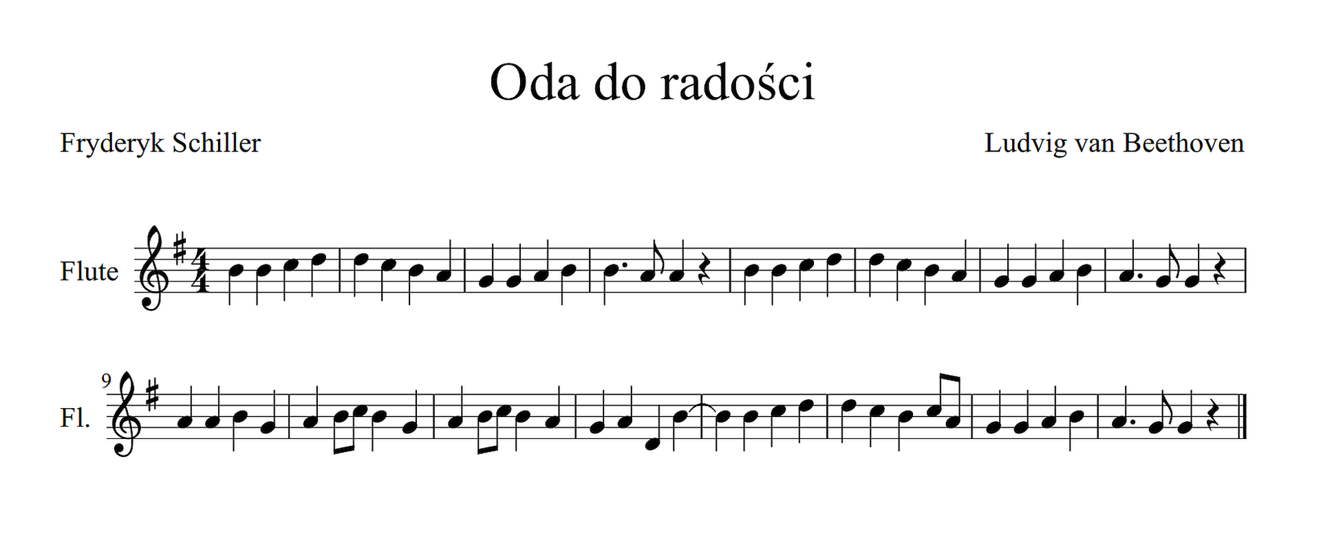 Prosty zapis nutowy Ody do radości. Na dwóch pięcioliniach zapisane są nuty. Metrum cztery czwarte, przy kluczu jeden krzyżyk fis. Kolejne dźwięki melodii to: hhcddcha, ggahhaa, hhcddcha, ggahagg, aahgahchg, ahchagad, hhcddchca, ggahagg