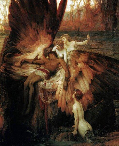 Opłakiwanie Ikara Źródło: Herbert James Draper, Opłakiwanie Ikara, 1898, domena publiczna.