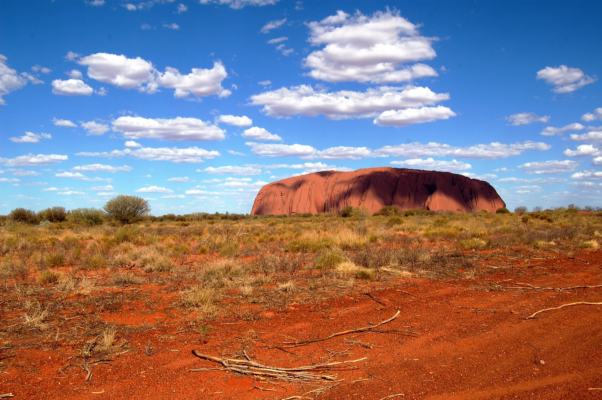 Fotografia przedstawia krajobraz wokolicy zwrotnika Koziorożca, wAustralii. Na czerwonej ziemi rosną niskie kępy traw. Wtle wznosi się czerwona góra wkształcie bochenka chleba. Jej zbocza są pofałdowane, agrzbiet spłaszczony.