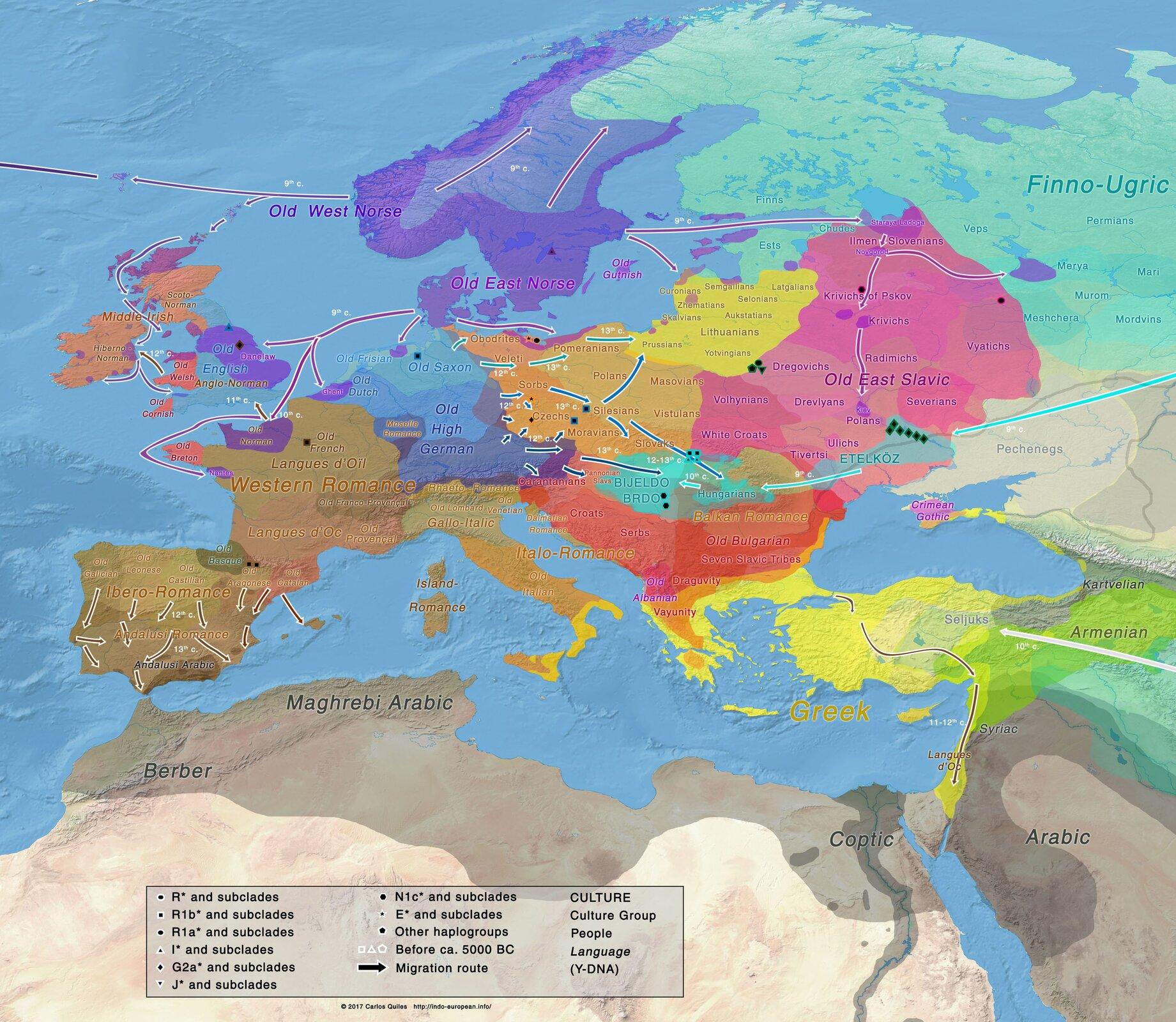 """Ilustracja nieznanego autora przedstawia mapę pod tytułem """"Terytoria indoeuropejskich najeźdźców"""". Mapa zawiera region Europy, oraz Afryki Północnej.  Na mapie naniesione są kolory: błękitny: Fragment obejmuje region Rosji, Finlandii iEstonii, fioletowy obejmuje tereny Norwegii, Szwecji, Danii. Kolor żółty obejmuje tereny Polski wschodniej, Litwy, Łotwy, oraz fragmentu Białorusi. Kolor pomarańczowy obejmuje tereny: Polski , Czech, wschodnich Niemiec, Słowacji. Kolorem blado fioletowym oznaczono tereny Niemiec, Austrii, Szwajcarii, Liechtensteinu oraz krajów Beneluxu. Kolorem brązowym oznaczono kraje Francji, Monako, Andory, Hiszpanii, Portugalii iWłoch. Kolorami fioletowymi iblado różowymi oznaczono tereny Wielkiej Brytanii iIrlandii Północnej. Kolorem ciemno błękitnym iczerwonym oznaczono tereny krajów bałkańskich, zaś kolorem żółtym iblado zielonym tereny Grecji, Turcji, oraz państw Azji mniejszej. Kolorem szarym oznaczono kraje północnoafrykańskie."""