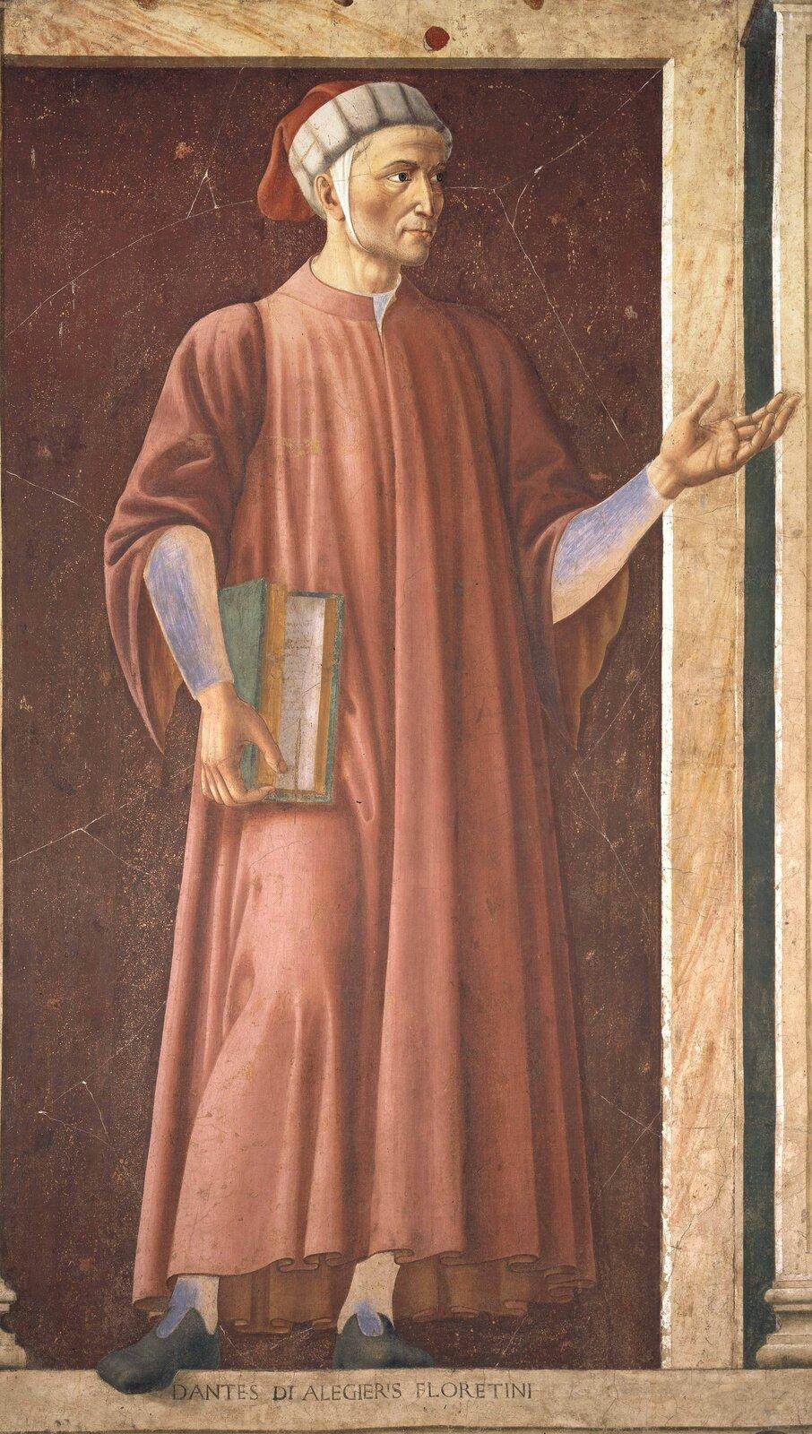 Dante Alighieri(czytaj: Aligieri) był znakomitym włoskim pisarzem Dante Alighieri(czytaj: Aligieri) był znakomitym włoskim pisarzem Źródło: Andrea del Castagno, ok. 1450, fresk na drewnie, domena publiczna.