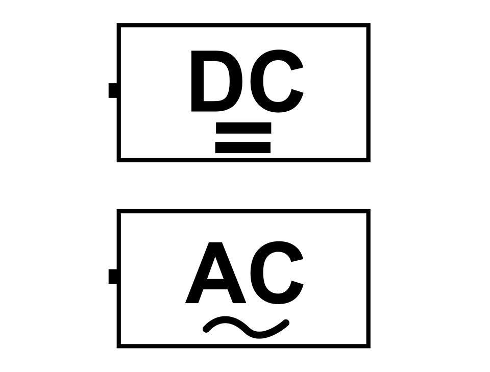 Na ilustracji przedstawiono sposoby oznaczania prądu stałego iprzemiennego. Wielkie litery DC lub linia prosta to symbole prądu stałego, awielkie litery AC lub falka przemiennego.