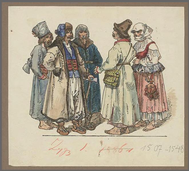 Obraz przedstawia czterech chłopów ijedną chłopkę. Sposób ubierania się chłopów przypominał strój szlachecki. Mężczyźni zakładali na spód koszulę iluźne spodnie, ana wierzch, jako ubiór zewnętrzny, kaftan przypominający krojem żupan. Kobiety nosiły dwuczęściowe stroje, złożone zkoszuli idługiej spódnicy. Na koszulę nakładany był niby gorset. Buty dla chłopstwa były luksusem - na co dzień chodziło się boso lub wsłomianych łapciach domowej roboty.