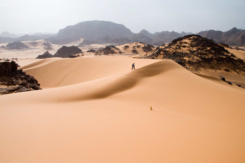 Fotografia przedstawia pustynię Saharę. Krajobraz składa się zpiaszczystych wydm iskał wtle. Spod zwałów pisku wystają mniejsze okruchy skalne. Po krawędzi wydmy idzie człowiek, bardzo mały wporównaniu zotoczeniem.