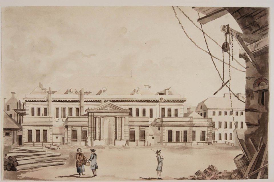 Teatr Narodowy na Placu Krasińskich wWarszawie Źródło: Zygmunta Vogla, Teatr Narodowy na Placu Krasińskich wWarszawie, ok. 1791, domena publiczna.