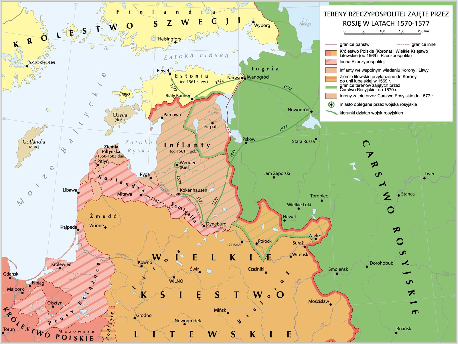 Tereny zajęte przez Rosję wlatach 1570-1577 Tereny zajęte przez Rosję wlatach 1570-1577 Źródło: Krystian Chariza izespół, licencja: CC BY 4.0.