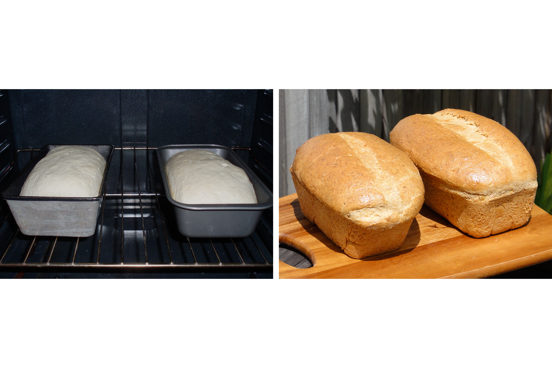 Ilustracja prezentuje dwa zdjęcia umieszczone obok siebie. Na pierwszym prezentowane jest wnętrze piekarnika zdwoma podłużnymi foremkami zawierającymi ciasto chlebowe. Na drugim dwa upieczone bochenki stoją na desce, gotowe do pokrojenia izjedzenia.