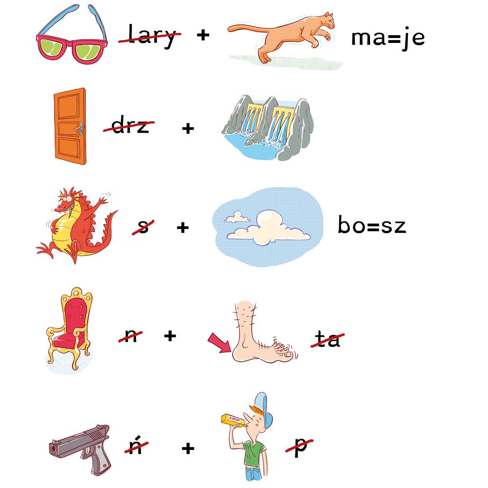10 małych ilustracji do rebusów