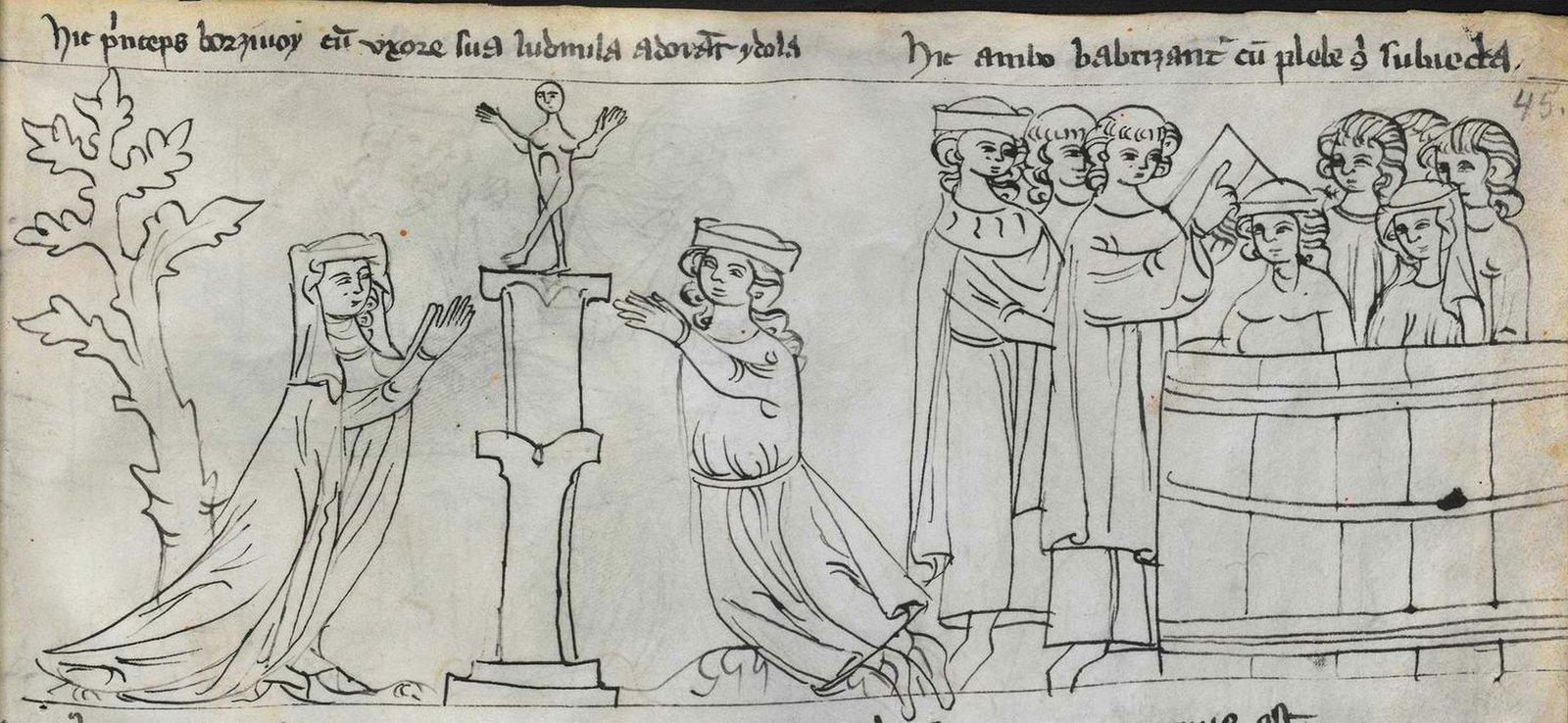 Opisanie historii Starego iNowego Testamentu, jak również niektórych świętych - tzw. Ilustrowany Kodeks zKrumlova Miniatura zXIV-wiecznej kroniki. Czeski książę Borzywoj zżoną Ludmiłą modlą się do posążka. Źródło: autor nieznany, Opisanie historii Starego iNowego Testamentu, jak również niektórych świętych - tzw. Ilustrowany Kodeks zKrumlova, ok. 1360, rysunek piórkiem (atrament), domena publiczna.