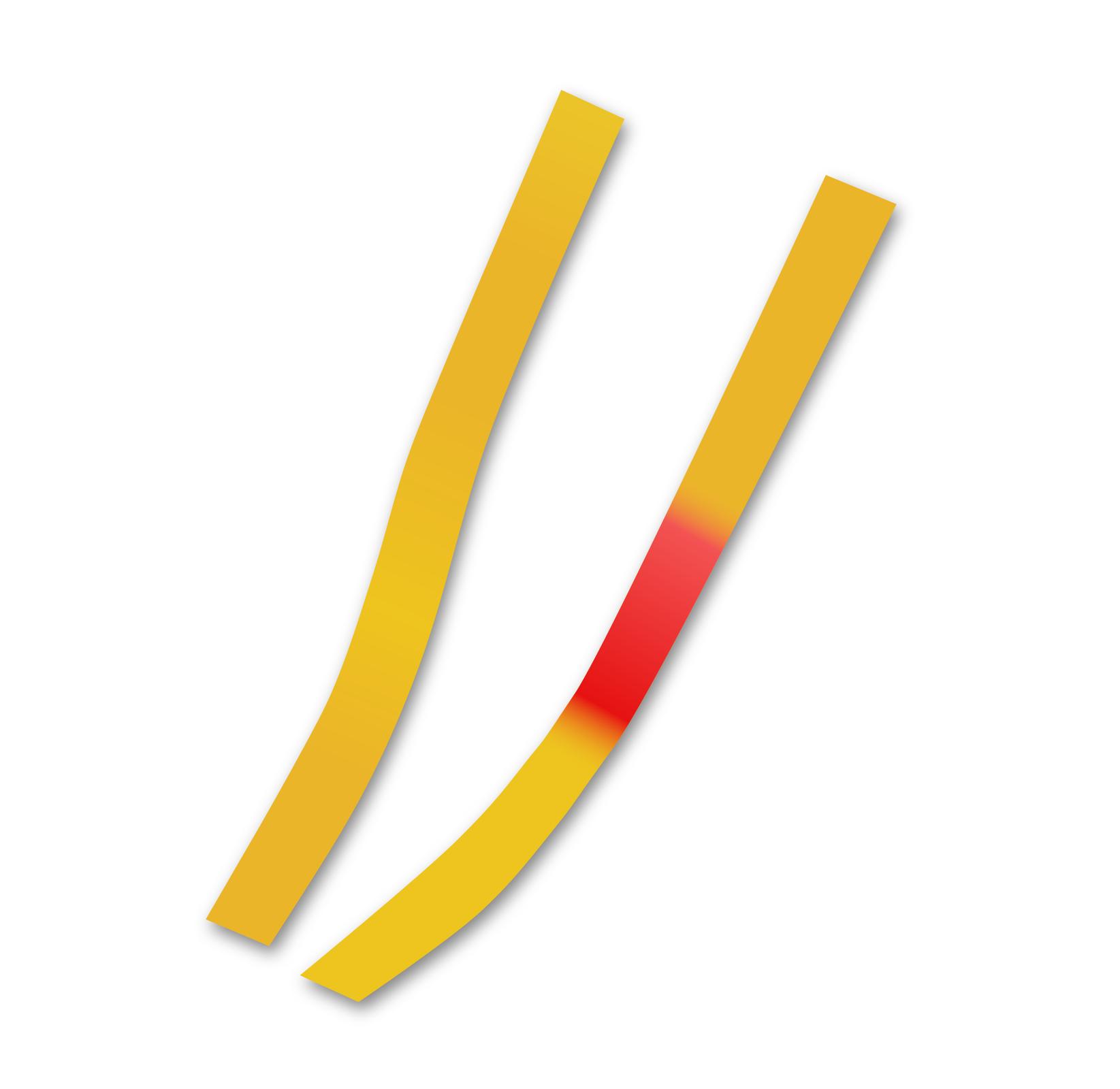 Trzeci element galerii. Przedstawia rysunek dwóch pasków papierków wskaźnikowych. Papierek po lewej stronie, poddany działaniu czystej wody zachował pierwotny, żółty kolor, natomiast papierek po prawej stronie, poddany działaniu kwasu zmienił wmiejscu kontaktu zkwasem kolor na czerwony.