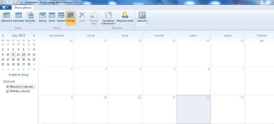 Widok okna zintegrowanego kalendarza Windows Live