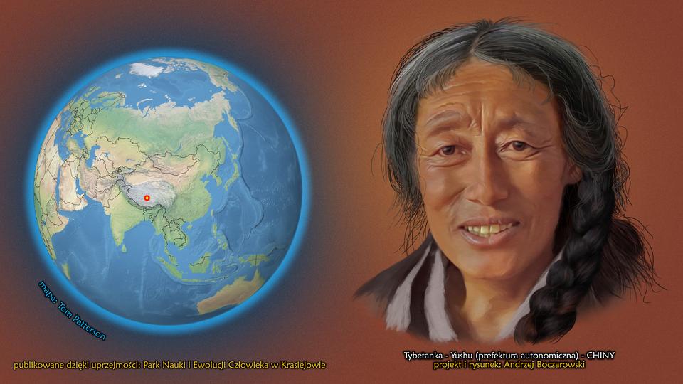 Na ilustracji kula ziemska, punktem zaznaczony Yushu, Tybet, Chiny. Obok twarz kobiety długimi ciemnymi lekko siwymi włosami. Podpis – Tybetanka.