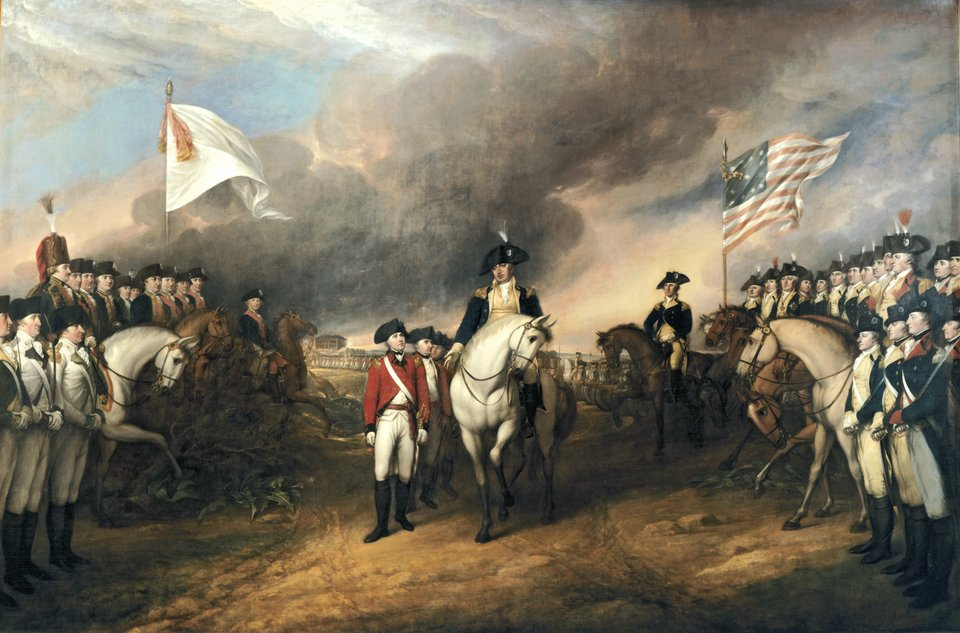 Kapitulacja Cornwallisa po klęsce pod Yorktowne KapitulacjaCornwallisa po klęsce pod Yorktowne 1781. Obraz Johna Trumbull'a z1820 – prezentowany podobnie jak prezentowany wyżej obraz zkapitulacji pod Sarratogą wKapitolu waszyngtońskim. Źródło: John Trumbull, Kapitulacja Cornwallisa po klęsce pod Yorktowne, 1820-1826, Olej na płótnie, Rotunda of the US Capitol, domena publiczna.
