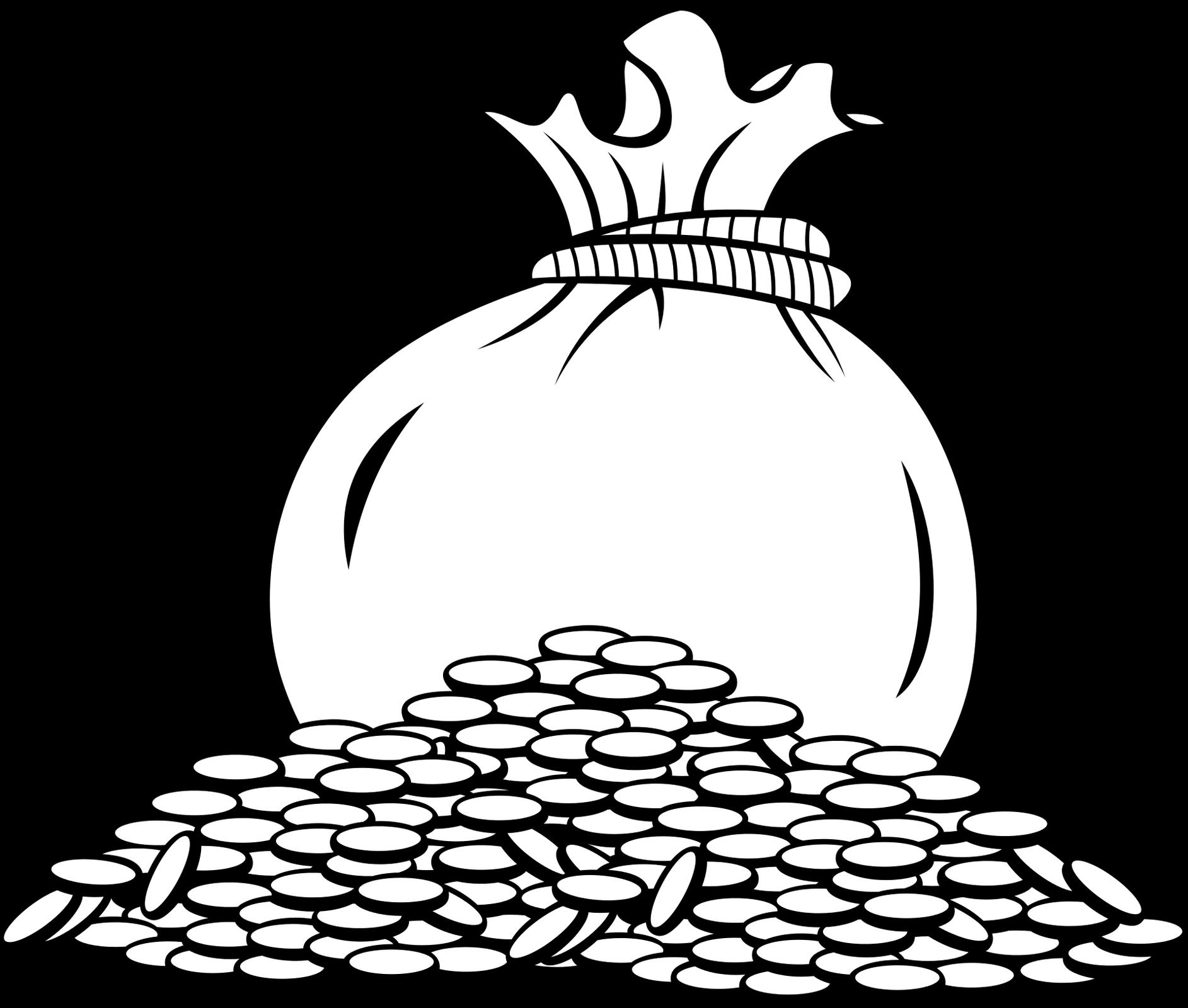 Ilustracja wektorowa na której widoczny jest worek zmonetami.