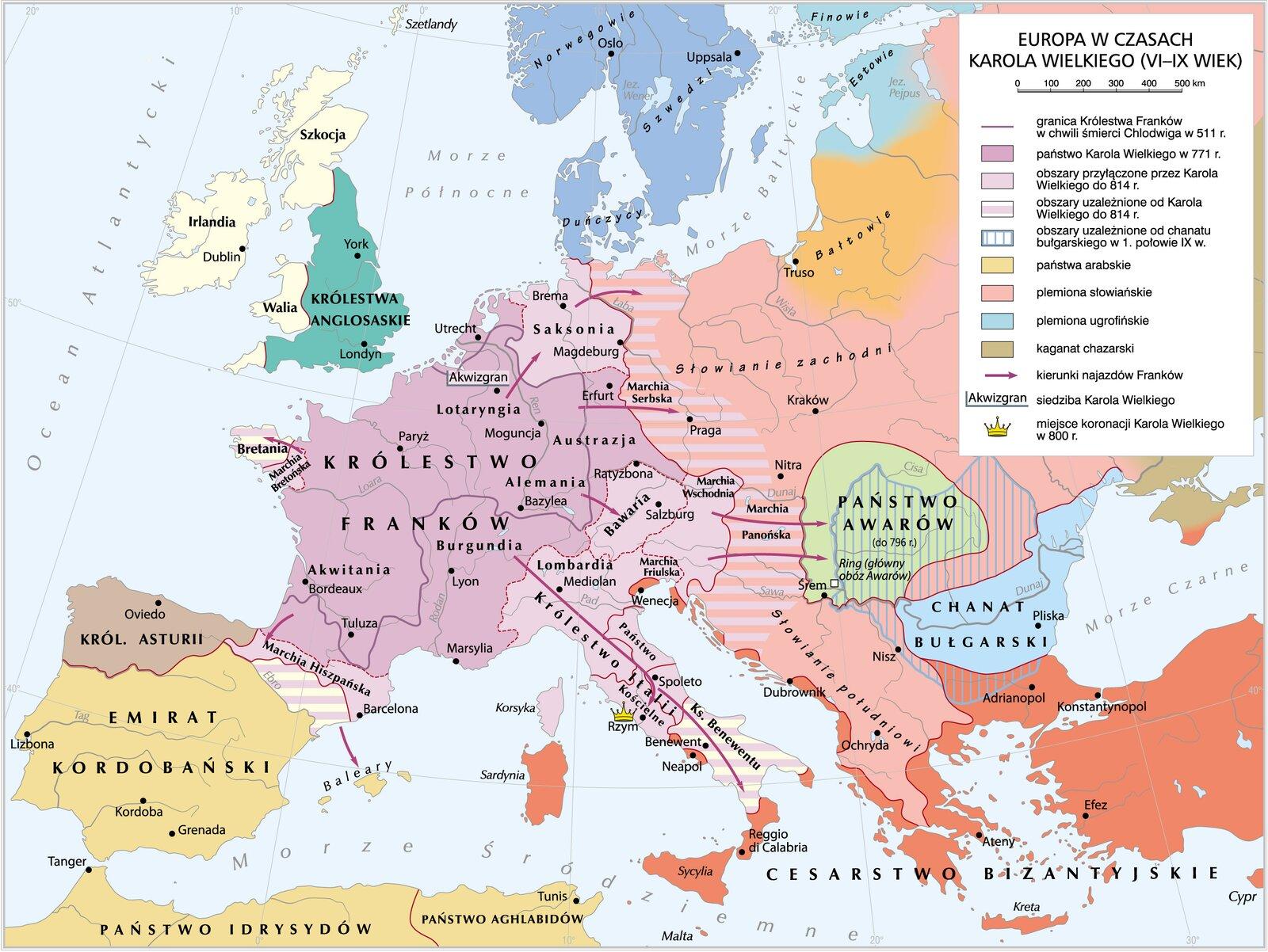 Europa wczasach Karola Wielkiego ( VI–X wiek) Europa wczasach Karola Wielkiego ( VI–X wiek) Źródło: Krystian Chariza izespół, mapa, licencja: CC BY 3.0.