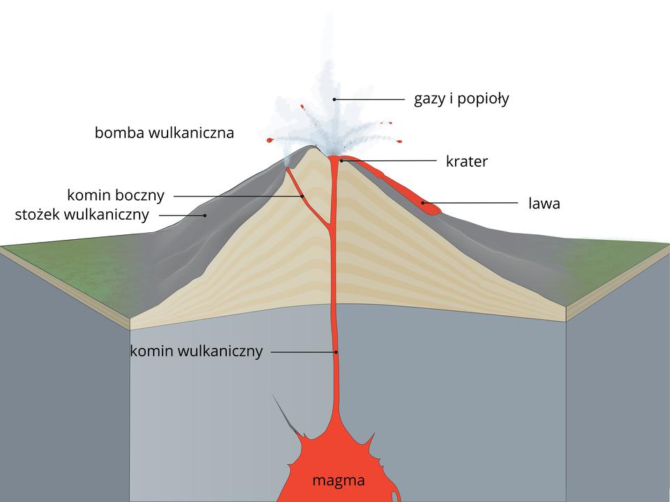 Na ilustracji przekrój wulkanu. Podstawa wkolorze szarym zczerwoną magmą wybijającą ku górze przez komin wulkaniczny. Na podstawie przekrój stożka. Lawa wydostaje się przez krater ikomin boczny. Nad stożkiem chmura gazów ibomby wulkaniczne.