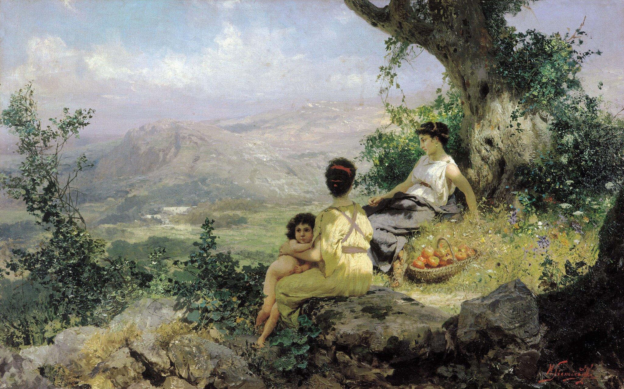 Sielanka Źródło: Henryk Siemiradzki, Sielanka, 1890, olej na płótnie, Narodowa Galeria Sztuki we Lwowie, domena publiczna.