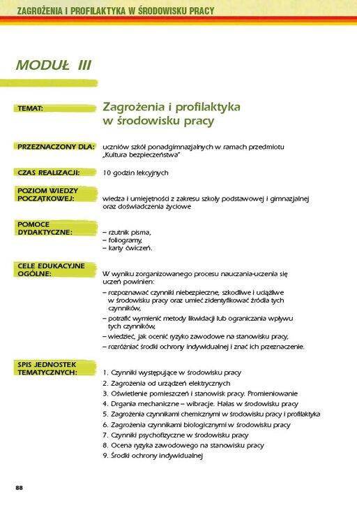 Zagrożenia iprofilaktyka wśrodowisku pracy. Moduł III. Scenariusze lekcji