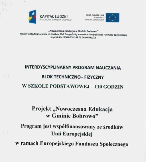 Interdyscyplinarny Program Nauczania. Blok techniczno-fizyczny wszkole podstawowej