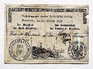 Bon papierowy na 5 marek (rewers) wydany przez miasto Grudziądz