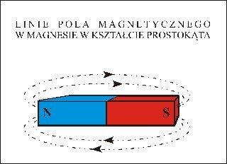 Linie pola magnetycznego wmagnesie okształcie prostokąta