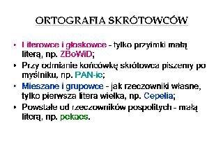 Ortografia skrótowców.