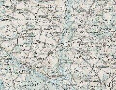 Okolice Góry na austrowęgierskiej mapie wojskowej z1906 roku